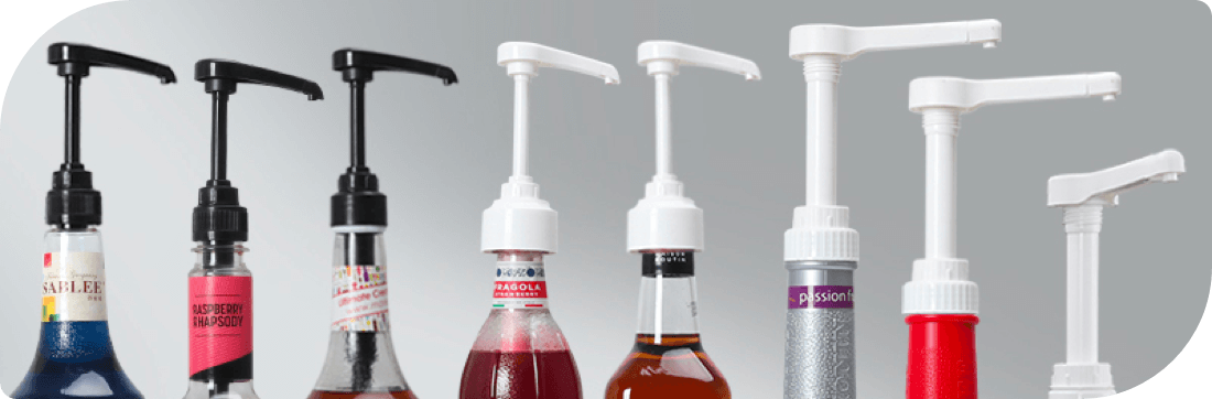 all sizes of syrup dispensing pumps